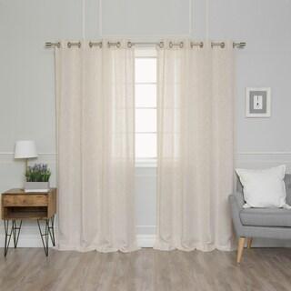 Aurora Home Solid Linen Blend Curtain Panel Pair