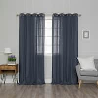 Aurora Home Solid Linen Blend Curtain Panel Pair
