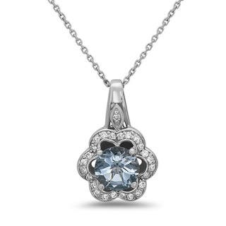 14k White Gold Aquamarine and 1/5ct TDW Diamond Pendant (H-I, SI1-SI2)|https://ak1.ostkcdn.com/images/products/14741186/P21268171.jpg?impolicy=medium