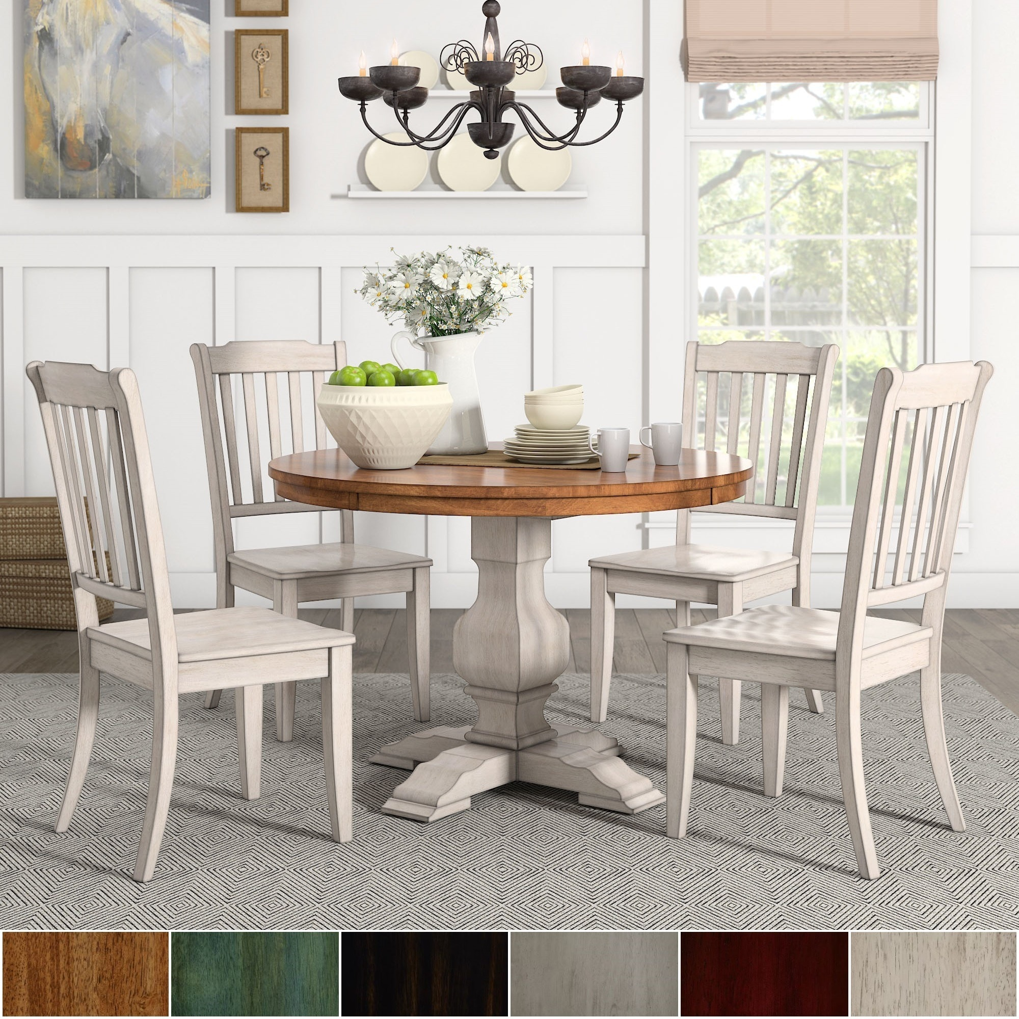 5 Piece Round Dining Set: Eleanor Antique White Round Solid Wood Top 5-Piece Dining