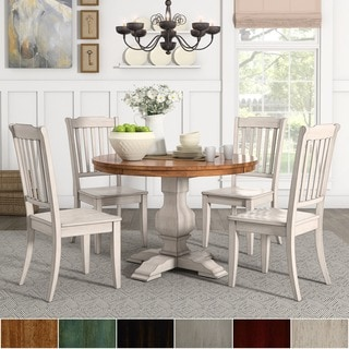 Eleanor Antique White Round Solid Wood Top 5-Piece Dining Set - Slat Back by TRIBECCA HOME
