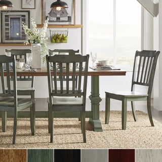 Eleanor Sage Green Farmhouse Trestle Base Slat Back 5-piece Dining Set by iNSPIRE Q Classic