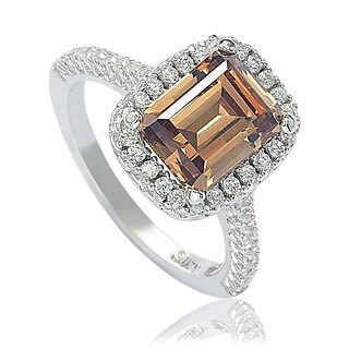 Suzy Levian Bridal Brown Cubic Zirconia with Halo Sterling Silver Ring.