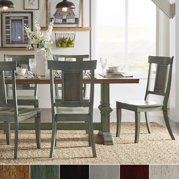 Eleanor Sage Green Farmhouse Trestle Base Panel Back 5-piece Dining Set by iNSPIRE Q Classic