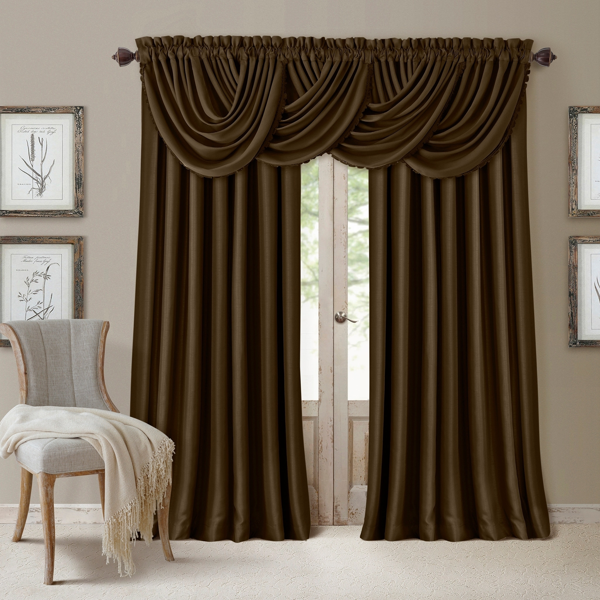 All Seasons Waterfall Window Valance 52 X36 Overstock 14741344 Black