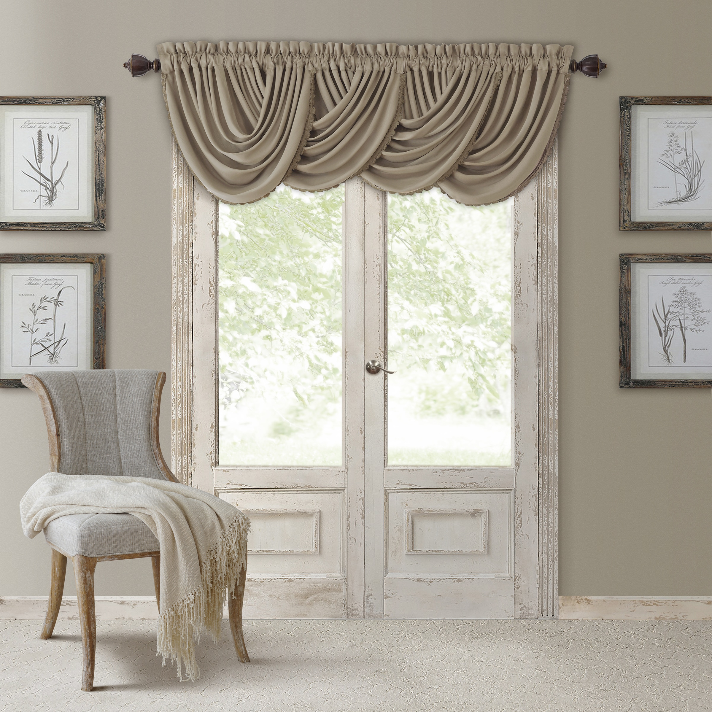 Elrene All Seasons Polyester Blend Waterfall Valance (Tau...