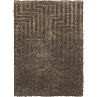 ecarpetgallery Moda Brown Viscose, Chenille Shag (5'4 x 7'4)