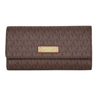 Michael Kors Signature Jet Set Item Checkbook Wallet - Brown