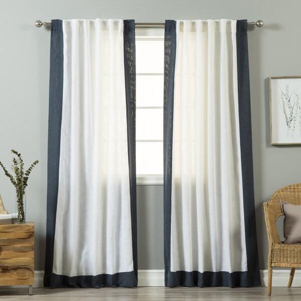 Aurora Home Colorblock Border Linen Blend Curtain Panel
