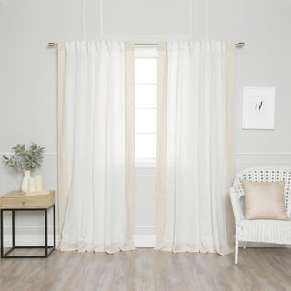 Aurora Home Colorblock Border Linen Blend Curtain Panel (Pair)