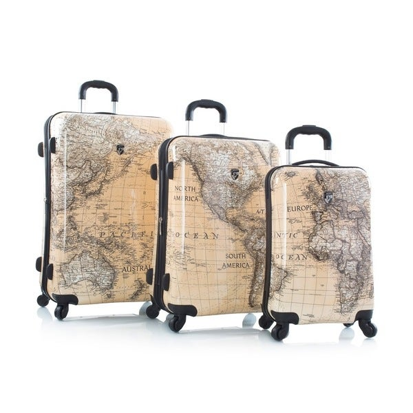 Heys Cl Ical World Map Sepia  Piece Set Fashion Spinner Upright Suitcase