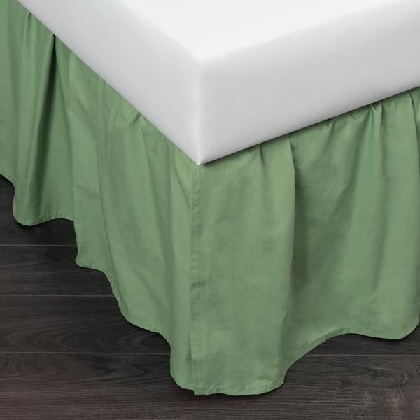 Green Brighton Cotton 24-inch Drop Bed Skirt