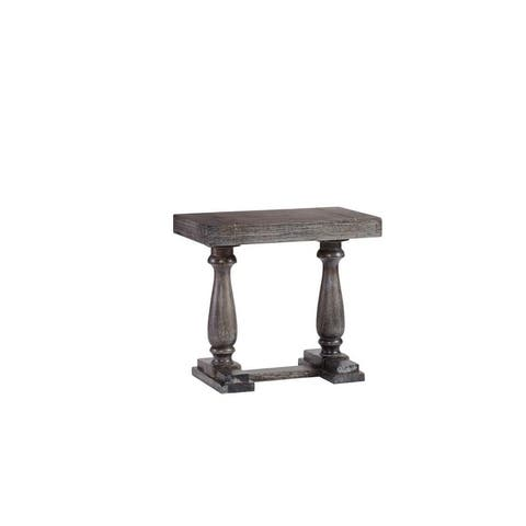 Muse Farmhouse Weathered Pepper Trestle Base Side Table