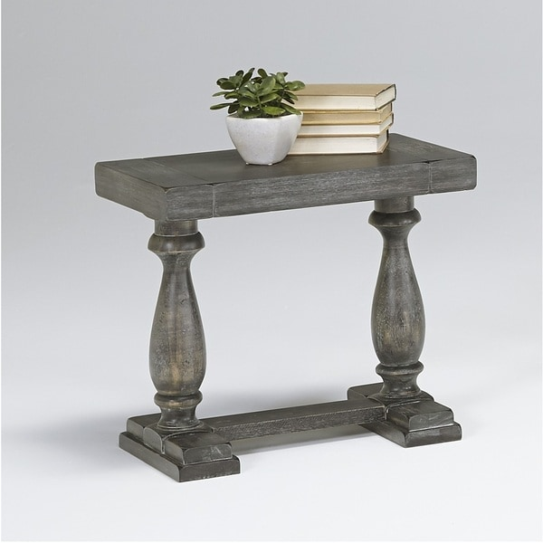 Muse Farmhouse Distressed Grey Trestle Base Side Table