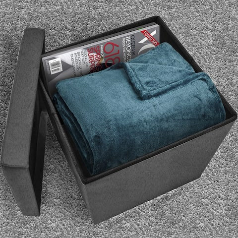Foldable Storage Ottoman - Suede with Cover (Grey)