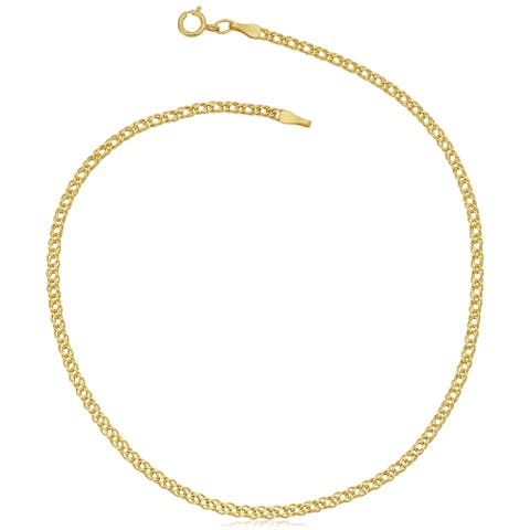 Fremada 10k Yellow Gold 2-mm Diamond Weave Curb Anklet (10 inch)