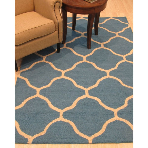 Shop Hand-tufted Traditional Moroccan Trellis Teal Wool