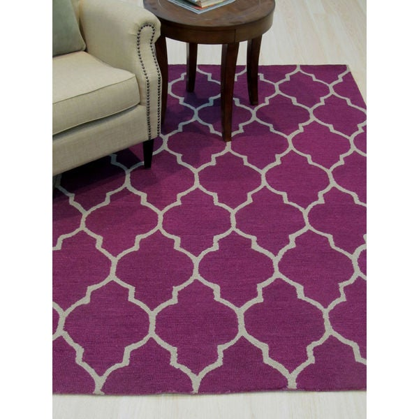 Shop Hand-tufted Traditional Moroccan Trellis Purple Wool