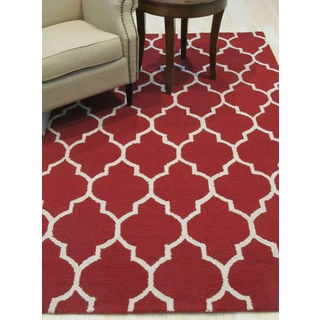 Hand-tufted Traditional Moroccan Trellis Red Wool Area Rug (5' x 7')