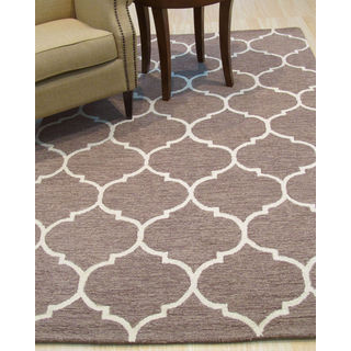 Hand-tufted Traditional Moroccan Trellis Light Brown Wool Area Rug (5' x 7')