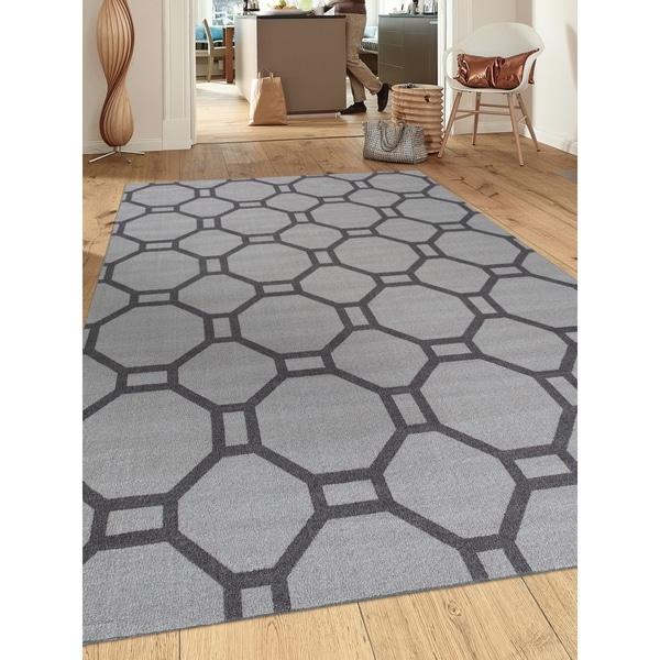 """Contemporary Grey Nylon Geometric Non-Slip Non-Skid Area Rug - 7'10"""" x 10'"""