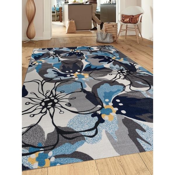 "Modern Floral Grey/Blue Non-Slip Area Rug (7' 10 x 10') - 7'10"" x 10'"