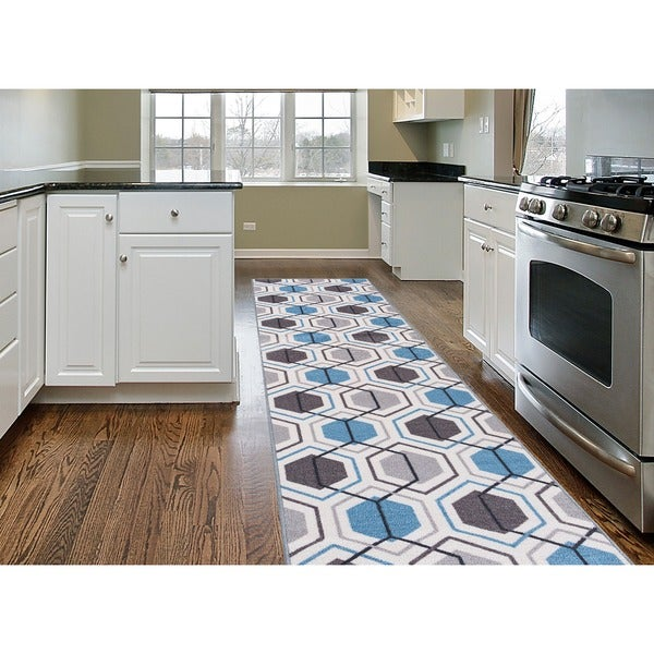 Contemporary Blue Nylon Geometric Stripe Non-Slip Non-Skid Area Rug Runner - 2' x 7'