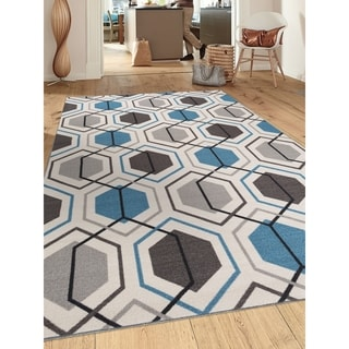 Blue Nylon Contemporary Geometric Stripe Non-slip Non-skid Area Rug (7'10 x 10')