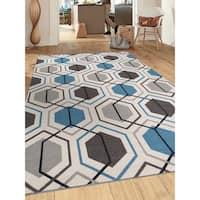 """Blue Nylon Contemporary Geometric Stripe Non-slip Non-skid Area Rug - 7'10"""" x 10'"""