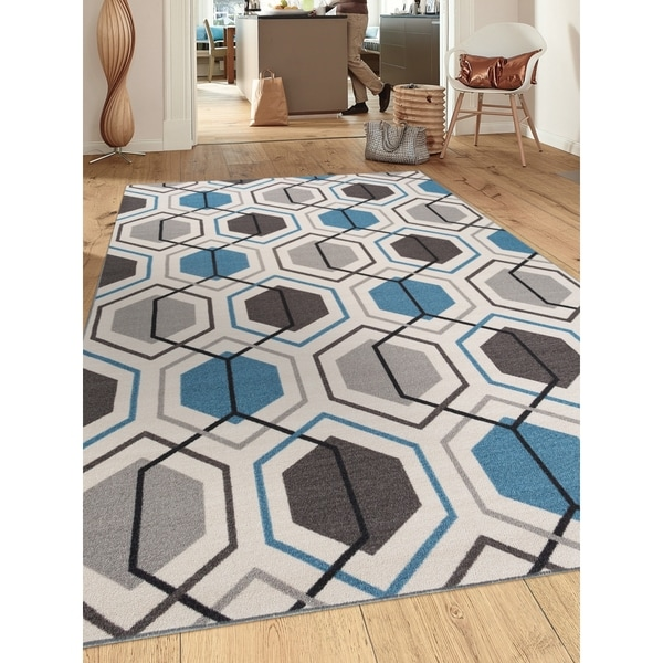 Contemporary Blue Geometric Stripe Non Slip Skid Area Rug 5 X27