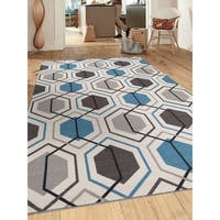Contemporary Blue Geometric Stripe Non-slip Non-skid Area Rug - 5'3 x 7'3