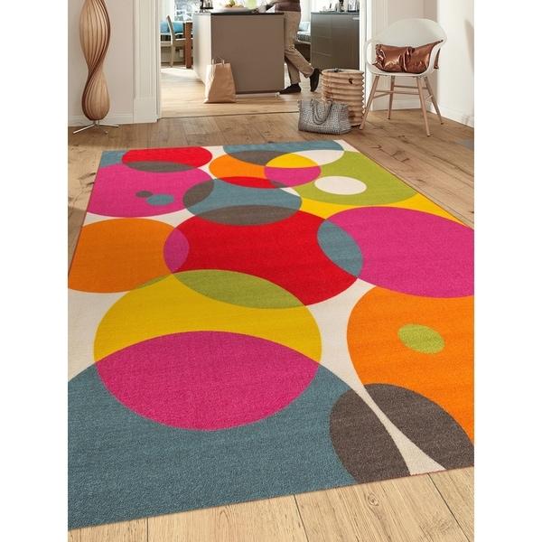 """Multicolored Nylon Modern Contemporary Circles Non-slip Non-skid Area Rug - 7'10"""" x 10'"""