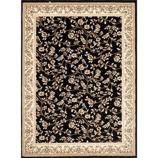 Black Floral Transitional Indoor Area Rug (2' x 3') - 2' x 3'