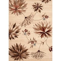 Beige/Brown Polypropylene Floral Indoor Area Rug - 2' x 3'
