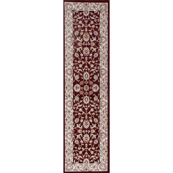 Nain Traditional Floral Red Runner Rug (2' x 7'2)