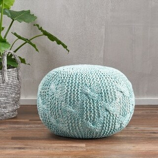 Deon Fabric Round Ottoman Pouf by Christopher Knight Home