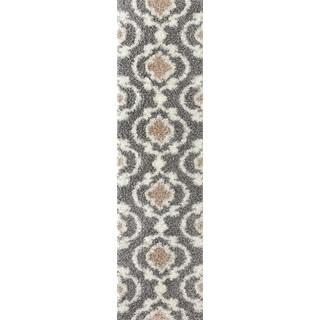 Grey/Cream Polypropylene Moroccan Trellis Shag Area Rug (2' X 7'2)