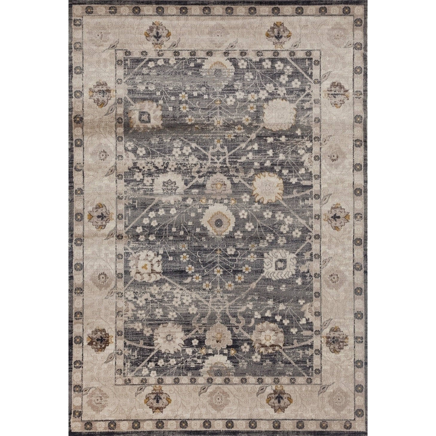 World Rug Gallery Grey Kashan Framed Traditional Floral I...