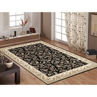 Floral Transitional Black Indoor Area Rug (5'3 x 7'3) - 5'3 x 7'3