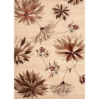Large Floral Beige Indoor Area Rug (5'3 x 7'3)