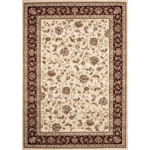 "Ivory Floral Transitional Indoor Area Rug - 7'6"" x 9'6"""