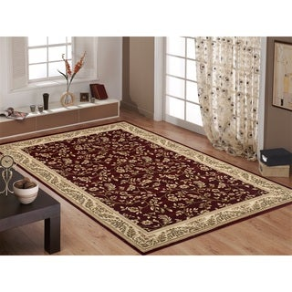 "Red/ Ivory Floral Transitional Indoor Area Rug (7'6""X9'5"") - 7'6"" x 9'6"""