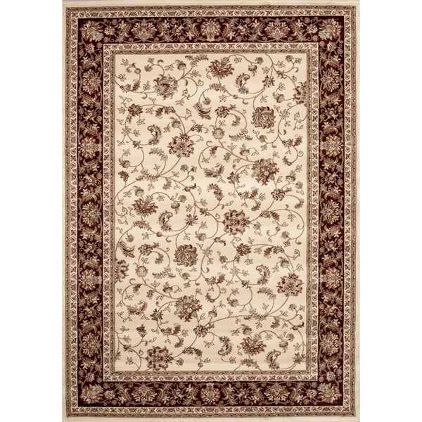 Transitional Ivory/Brown Floral Area Rug - 9' x 12'
