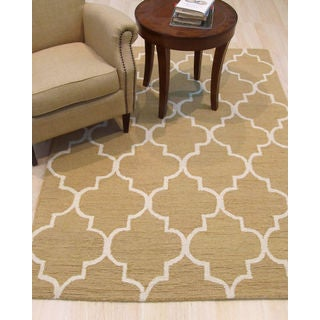 Hand-tufted Traditional Moroccan Trellis Light Gold Wool Area Rug - 5' x 7'