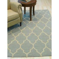 Hand-tufted Traditional Moroccan Trellis Light Green Wool Area Rug - 5' x 7'
