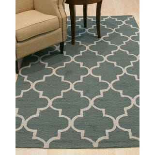 Hand-tufted Traditional Moroccan Trellis Green Wool Area Rug (5' x 7')