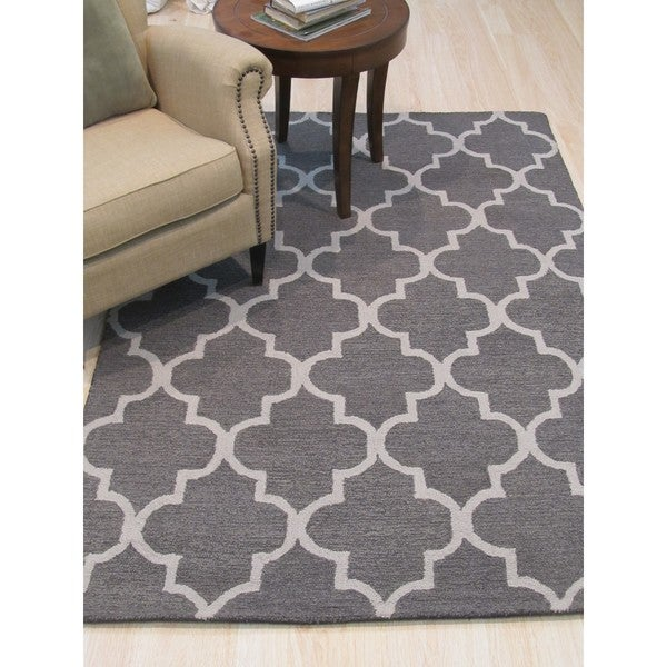 Shop Hand-tufted Traditional Moroccan Trellis Grey Wool