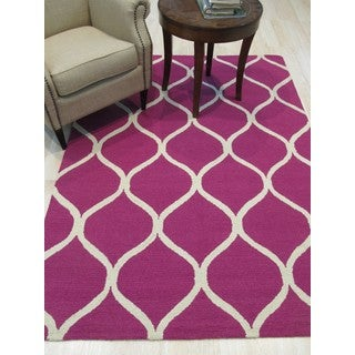 Hand-tufted Traditional Moroccan Trellis Pink Wool Area Rug (5' x 7')