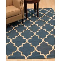 Hand-tufted Traditional Moroccan Trellis Blue Wool Area Rug - 5' x 7'