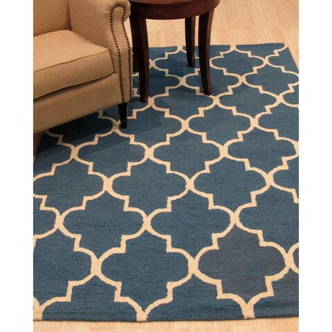 Hand-tufted Traditional Moroccan Trellis Blue Wool Area Rug - 5' x 8'